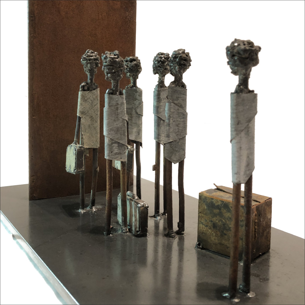 The Firm. Steel sculpture by Tony O'Keefe. New Zealand artist.